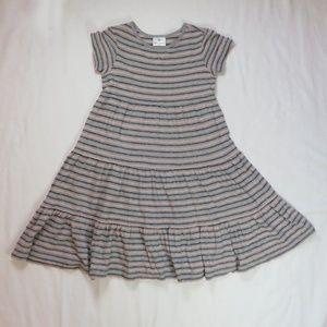 Hanna Andersson 130 8 Twirl Dress Stripe Gray Pink